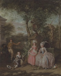 a group portrait of a family in an ornamental garden by nicholaes muys