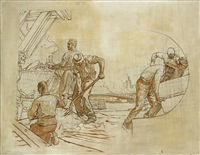 projet de décor: un chantier au bord de la seine by fernand cormon