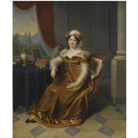 portrait of a lady said to be madame masbou seated in an interior wearing a brown velvet dress and a headdress a landscape seen through a window beyond by firmin massot