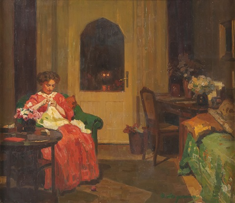 dame bei der handarbeit im salon by hermann angermeyer
