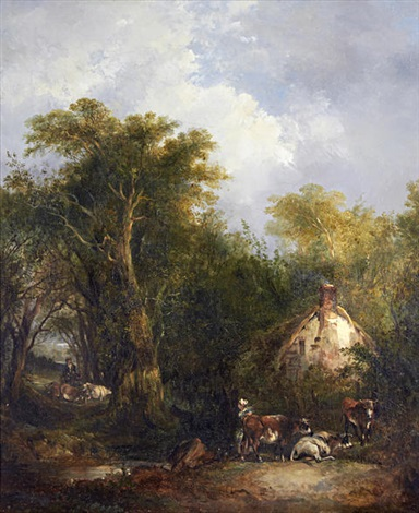 figures by a country cottage by richard h hilder