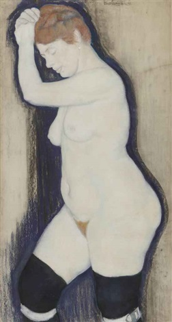 a nude wearing stockings by leo gestel