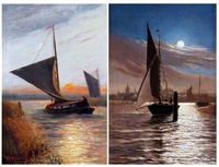 boats on breydon water by moonlight with haven bridge and town in distance wherries in a stiff breeze on the broads at sunset (pair) by stephen john batchelder