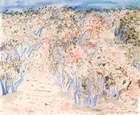 olive grove - spring in provence (+ olive grove, near st. remy de provence; 2 works) by norman adams