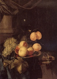 still life of grapes, peaches and plums on a silver plate, cherries and a roemer, all set on a draped table by harmen loeding