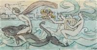 neptun ridende på delfin med nereider by gerhard peter franz vilhelm munthe