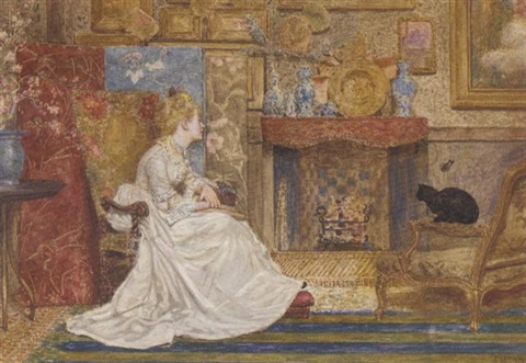 an elegant lady seated by a fire in a chinese influenced interior by james macbeth