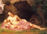 junge frau mit kind unter einem felsen by joseph arnold
