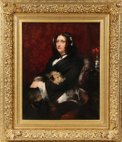 portrait of george eliot with her beloved dogs by samuel laurence