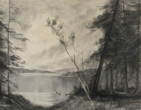 a view of the lake through the trees by augustus fredrick kenderdine