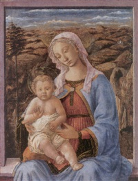 madonna and child seated on a window ledge by (francesco di stefano) pesellino
