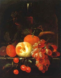 stilleben mit früchten und einem glas wein by johannes borman