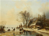 skaters on a frozen lake by jacobus freudenberg