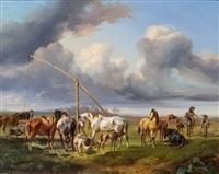 pferdetränke in ungarischer pusztalandschaft by joseph heicke