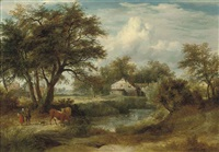 a wooded river landscape, two figures with their cattle conversing by a bridge, a cottage beyond by philipp reinagle