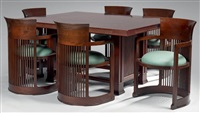 suite de six fauteuils modèle barrel 606 (set of 6) by frank lloyd wright