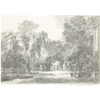 view of a park with statues and ornamental buildings by antoine pierre mongin