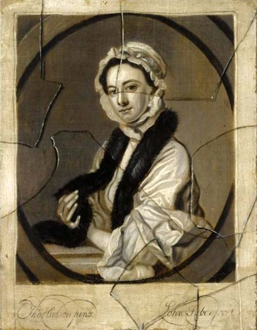 an engraved female portrait after thomas hudson seen behind broken glass by john faber the younger
