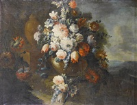 a still life of roses, tulips, carnations and other flowers in a stone vase...(+ a still life of poppies, convolvulus, roses and other flowers; pair) by michele antonio rapous