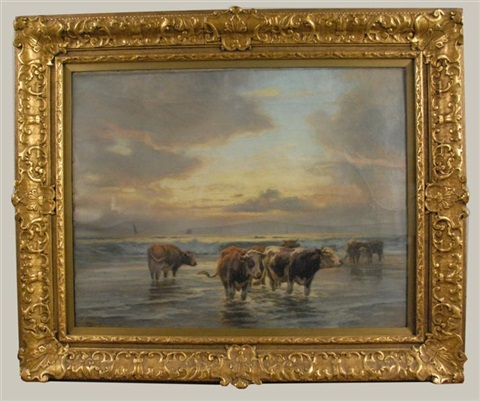 cows wading in the sea at sunset by william henry howe