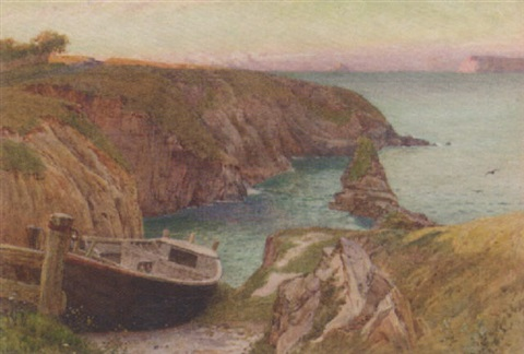 a coastal landscape with sheep grazing in the foreground by george e robertson