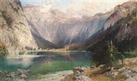 blick auf den obersee im berchtesgadener land, im hintergrund der watzmann by heinrich hiller