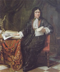 portrait of an artist, wearing a dark gray robe and lace cravat holding a drawing, seated at a table in his studio by willem verschuring the younger