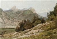 vue sur les montagnes de chartreuse, le saint-eynard, la dent de crolles, chamechaude by jean-célestin-tancrède bastet