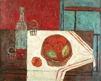 still life of fruit and wine on the table-4 by michael argov