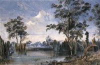 sportsmen by a gum tree shooting duck by henry eason davies
