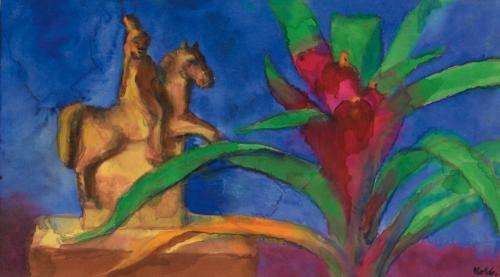 blühende billbergia und reiterfigur blossoming billbergia and rider figure by emil nolde