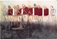 two color screenprints from boston massacre series by larry rivers