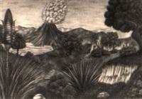 landschaft mit vulkan und exotischer blume by anton krejcar