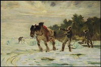 the ice cutters, île d'orléans by horatio walker