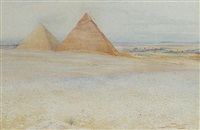 the great pyramids of khufu and khafre at giza, egypt by howard carter