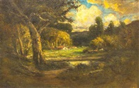 landscape with cows and a house by william keith