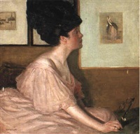 a lady in pink by george charles aid