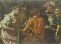 elegant company making music around a table by antonio gandini