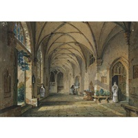 interior view of a cloisters by simon quaglio