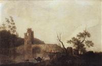 paysage au pont de pierres by jules cesar denis van loo