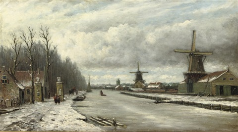 strolling along a frozen river by johannes jacobus jan heppener