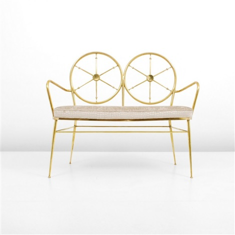 benchsofa with wheel design backs by gio ponti