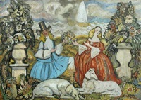 a gentleman giving a bunch of flowers to a lady in a landscape (+ another; 2 studies for a tapestry) by steven spurrier