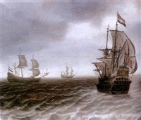 dutch men o'war in choppy waters by justus verwer