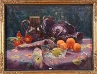 nature morte au chou, aux oranges, au citron et aux fleurs by berthe art