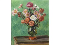 flowers in a vase against a green background by duncan grant