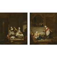 an interior with a mother knitting, watched by her children and a maid (+ a barn interior with a mother feeding her baby; pair) by jacques-albert senave