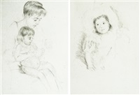 jeannette portant un bonnet et la manucure (2 works) by mary cassatt