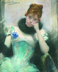 portrait de jeune femme à la fleur bleue by margaret turner