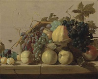 grapes and pears in a woven basket, with pears, peaches, apricots and a plum on a stone ledge, with a fly on the stone wall by nicolaes (claes) heussen